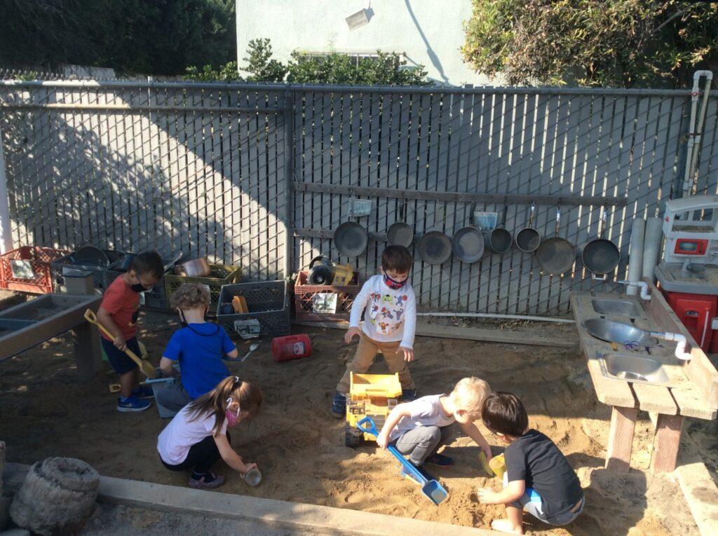 Preschool helpers working